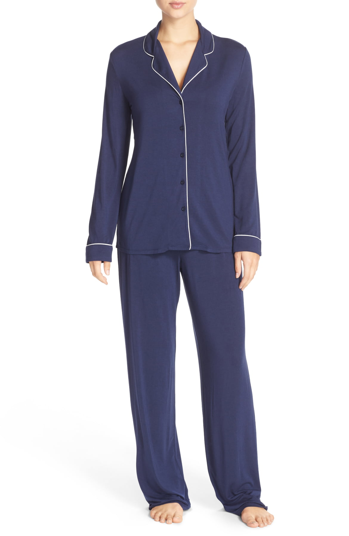 Let her sleep - and sleep in comfort. Contrast piping outlines classic menswear-inspired PJs that pair a feminine swing top with soft, fluid pants to complete the set.{ } Every mom loves comfy jams. Price $65 @ Nordstrom.{ }(Image: Nordstrom)