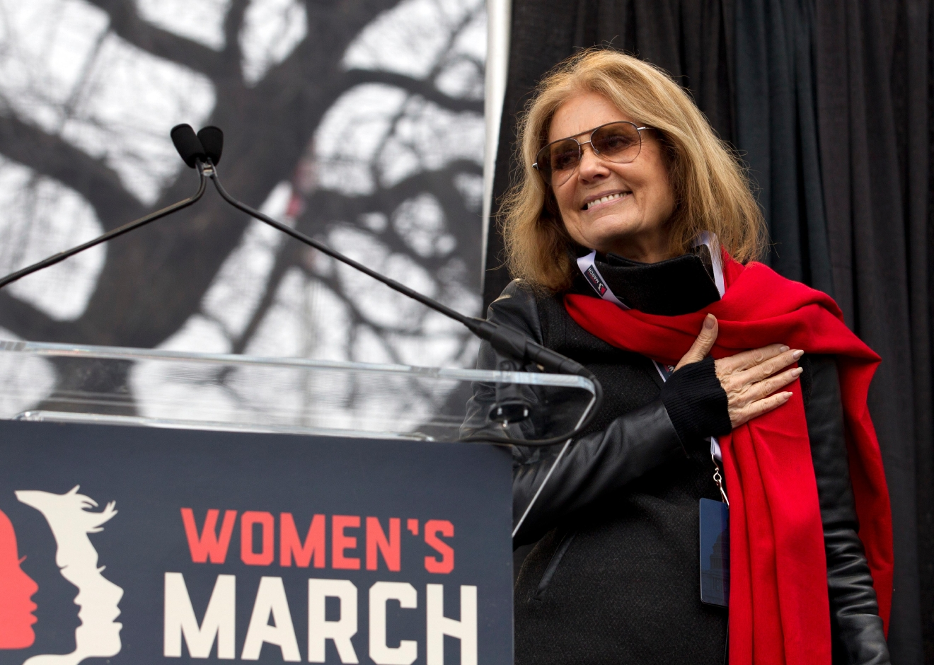 Writer and political activist, Gloria Steinem speak to the crowd during the women's march rally, Saturday, Jan. 21, 2017 in Washington. Organizers of the Women's March on Washington expect more than 200,000 people to attend the gathering. Other protests are expected in other U.S. cities. ( AP Photo/Jose Luis Magana)