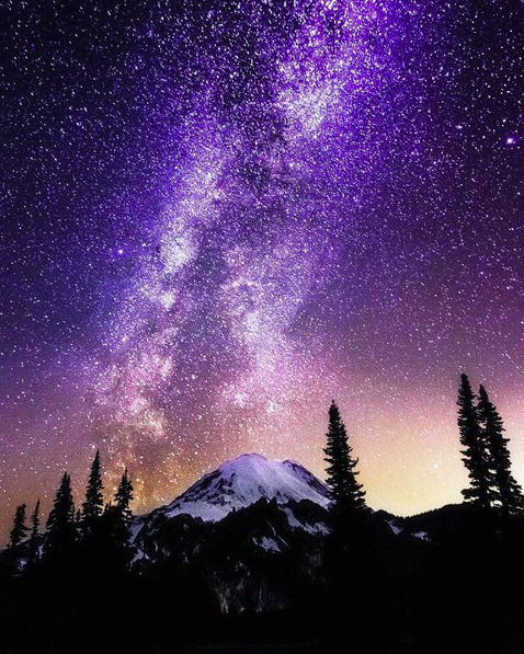IMAGE: IG user @sunset_milkyway / POST: #landscape #milkyway #universe #mountain #sunset #sunrise yes all in one (^_-)