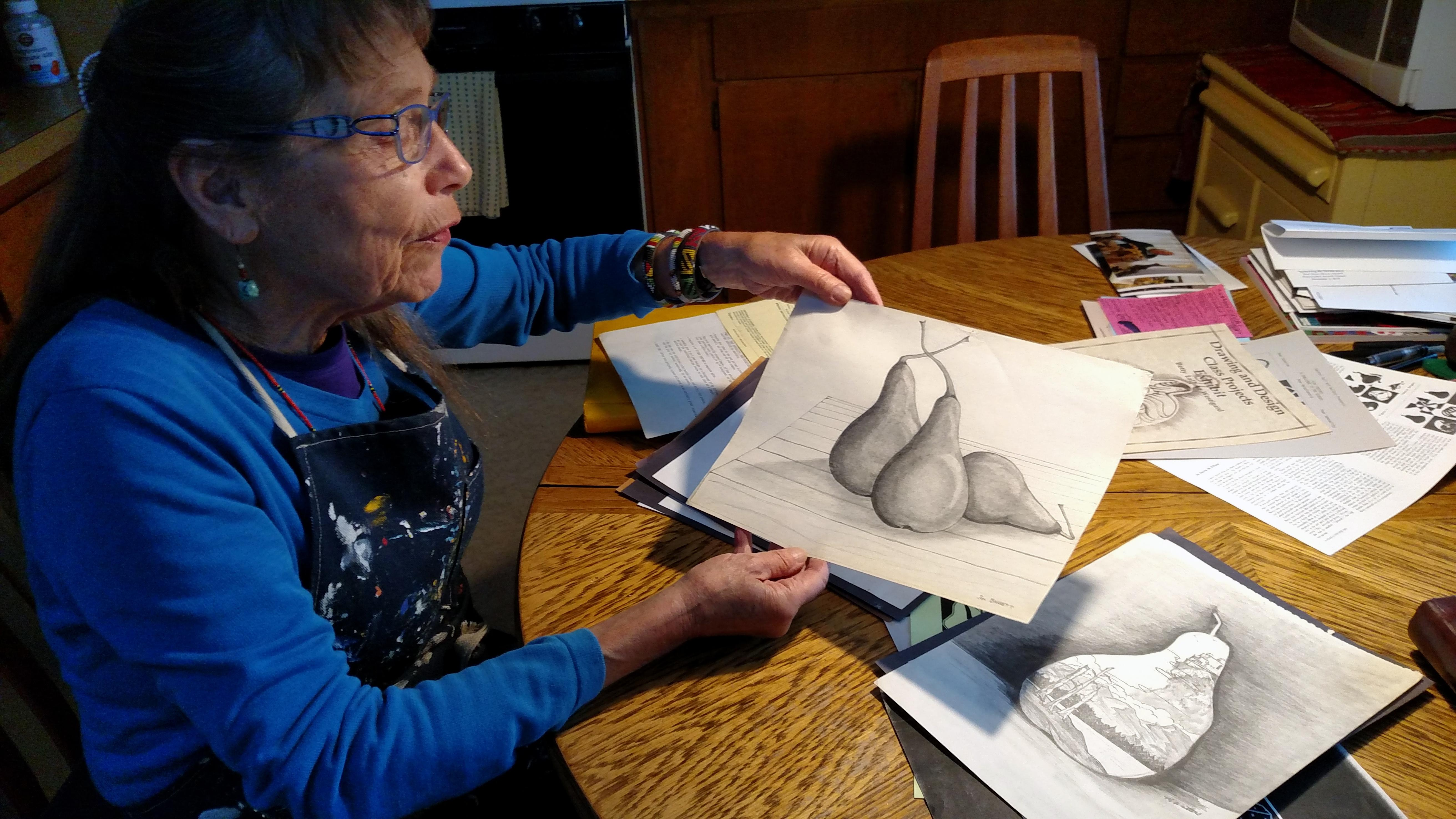 Peter Westigard would bring pears home for Betty's SOU art classes; the students had to finish their drawings of expressive pears before they could eat the fruit. Pear grower Ed Earnest would buy student sketches for $25 and hang them up in the hallway at Eden Valley Orchard when he owned that property. (Photo by Maureen Flanagan Battistella)