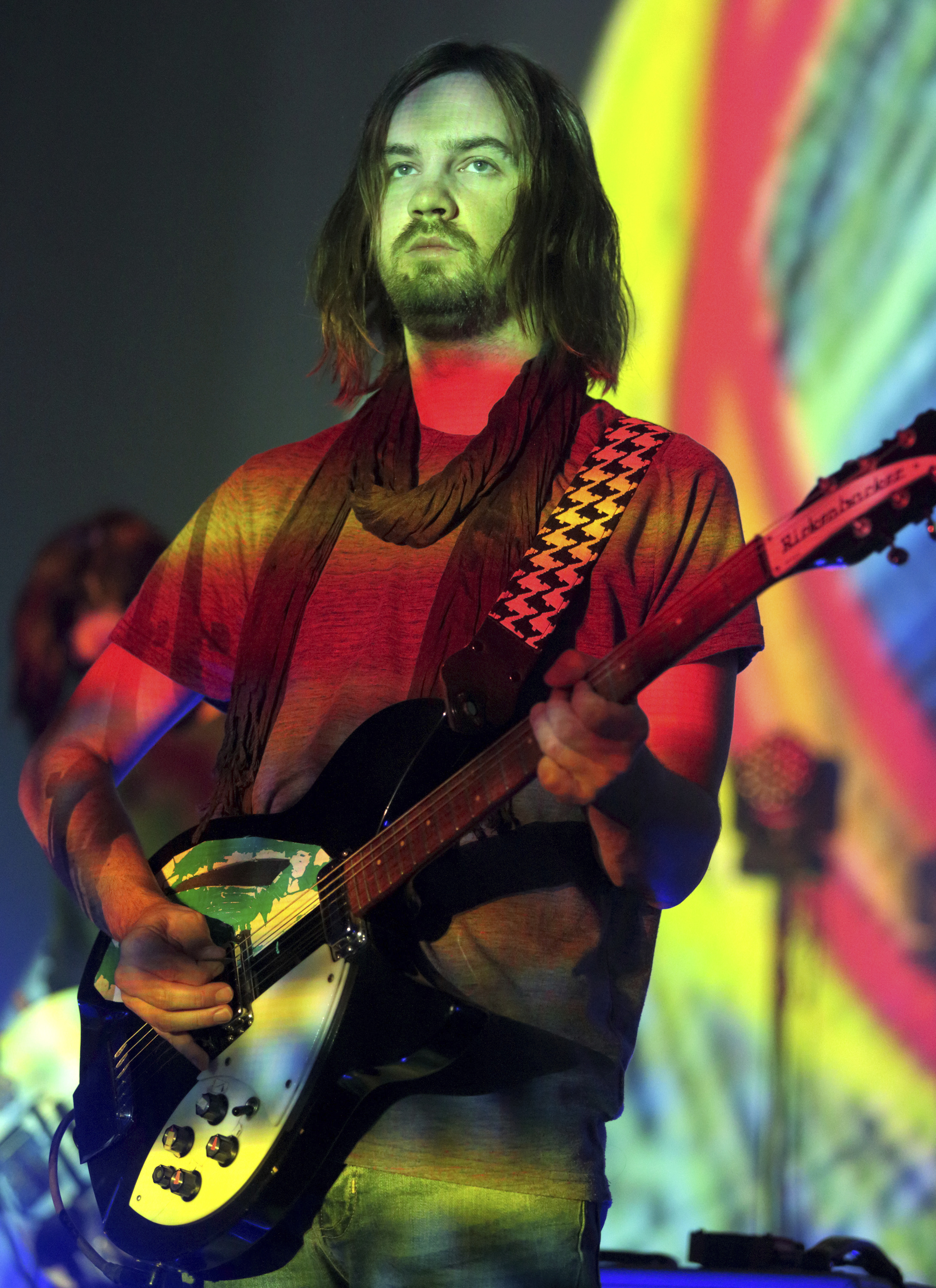"FILE - In this Oct. 5, 2015 file photo, Kevin Parker of the band Tame Impala performs in concert during their ""Currents Tour 2015"" at the Tower Theater in Upper Darby, Pa.{ } (Photo by Owen Sweeney/Invision/AP, File)"