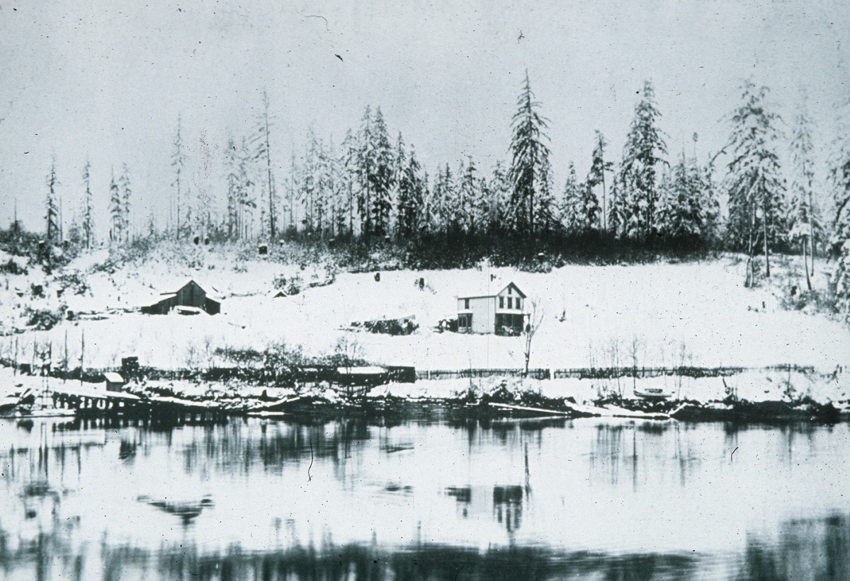 Discovery Park: History, Misc--Ole Shillestad House at Locks area, 1880 (Photo courtesy: Seattle Municipal Archives)<p></p>